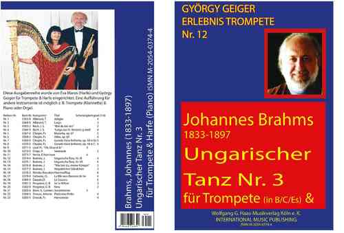 Brahms, Johannes 1833-1897; Hungarian Dance no.3 for Trumpet in B / C / Es, Harp (Piano)