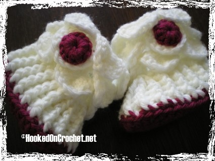 Dragon Scale Baby Booties - burgundy white