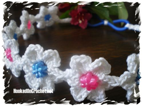 Crochet beaded flower headband