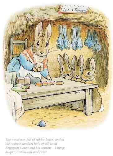 """The neatest sandiest rabbit hole of all"" by Beatrix Potter"