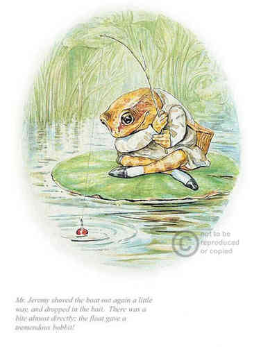 """Jeremy fisher dropped in the bait"" by Beatrix Potter"