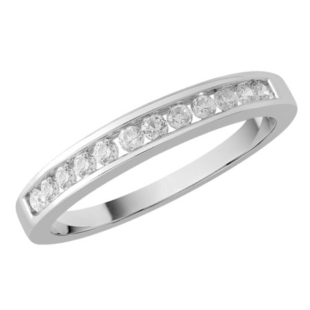 Channel set round brilliant cut diamonds set on top half of a white gold ring.\\n\\n11/03/2016 16:59