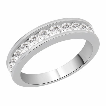 Channel set round brilliant cut diamonds set on top half of a white gold ring.\\n\\n11/03/2016 17:00