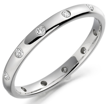 Court shape band with flush set round brilliant cut diamonds set in platinum\\n\\n07/02/2017 11:07