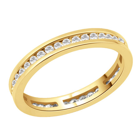 Channel set round brilliant cut diamonds set on top half of a yellow gold ring.\\n\\n11/03/2016 17:00