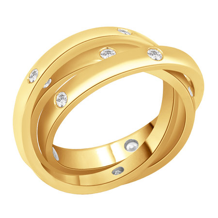 Russian wedding band, three rings all interlocked and with flush set round brilliant cut diamonds in yellow gold\\n\\n11/03/2016 17:00