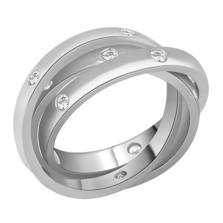 Russian wedding band, three rings all interlocked and with flush set round brilliant cut diamonds in white gold\\n\\n11/03/2016 17:00
