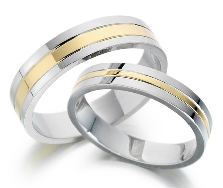 White and yellow gold wedding bands. Matching his and hers.\\n\\n07/02/2017 11:07