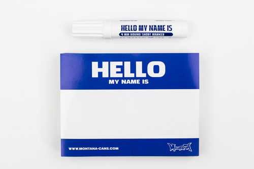 Montana Cans - HELLO MY NAME IS Stickerpack BLAU inkl. Marker