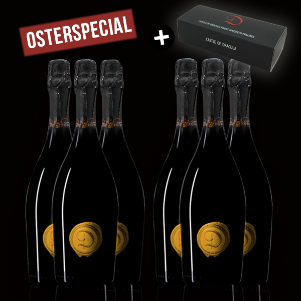 6 Flaschen Marsecco Gold Spumante Castle of Dracula - Osterspecial