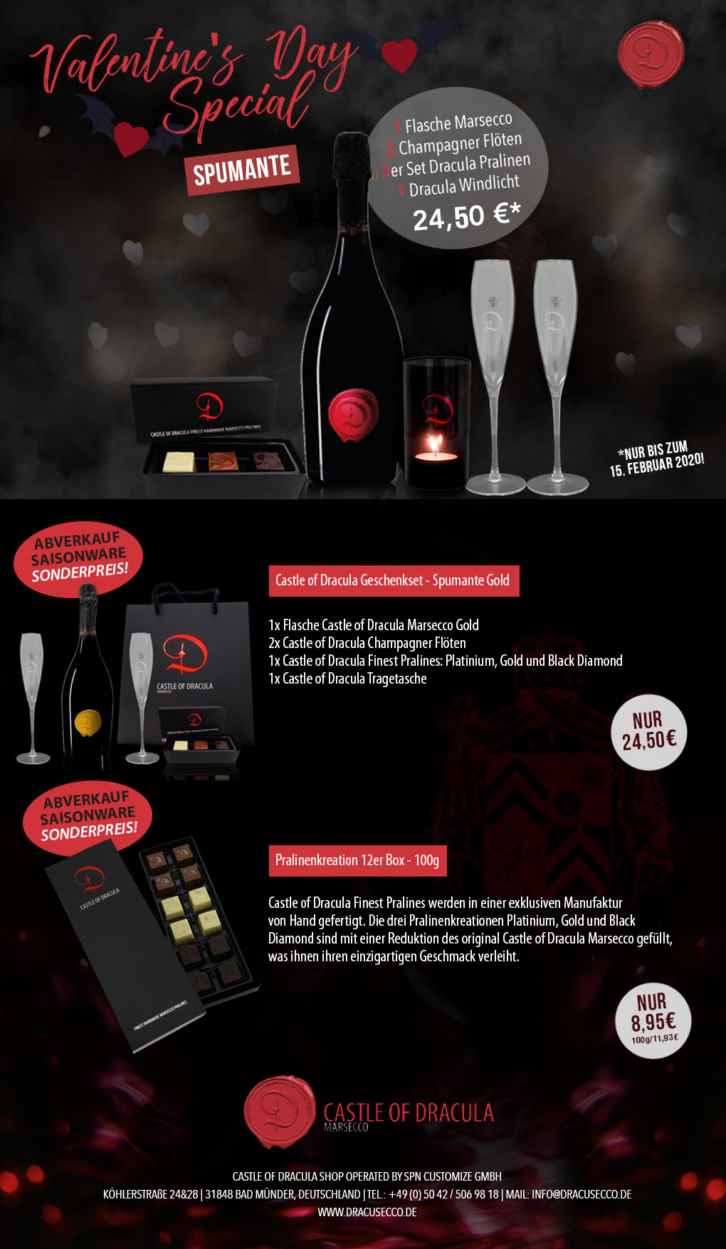 Newsletter Castle of Dracula Special Valentinstag 2020