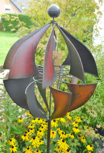 windspiel gartenstecker windrad garten figur metall wind rad kugel 185cm ebay. Black Bedroom Furniture Sets. Home Design Ideas