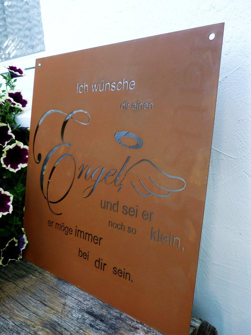 Gedichttafel engel spruchtafel metall garten edelrost deko for Rostfiguren garten