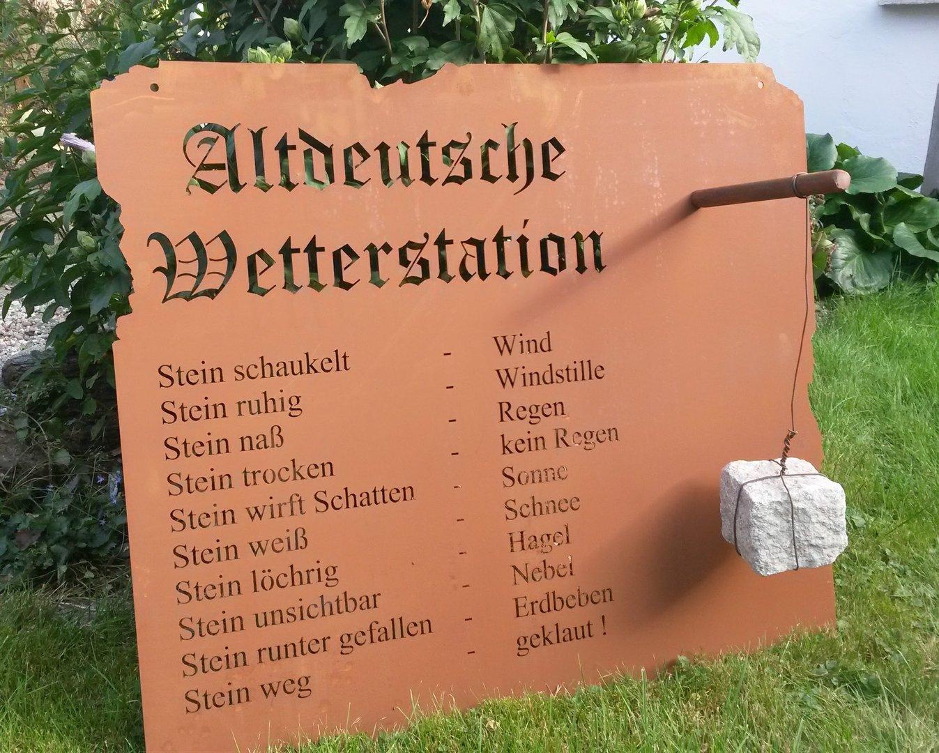 Altdeutsche wetterstation 70x82cm rost tafel garten schild for Rost deko garten deutschland