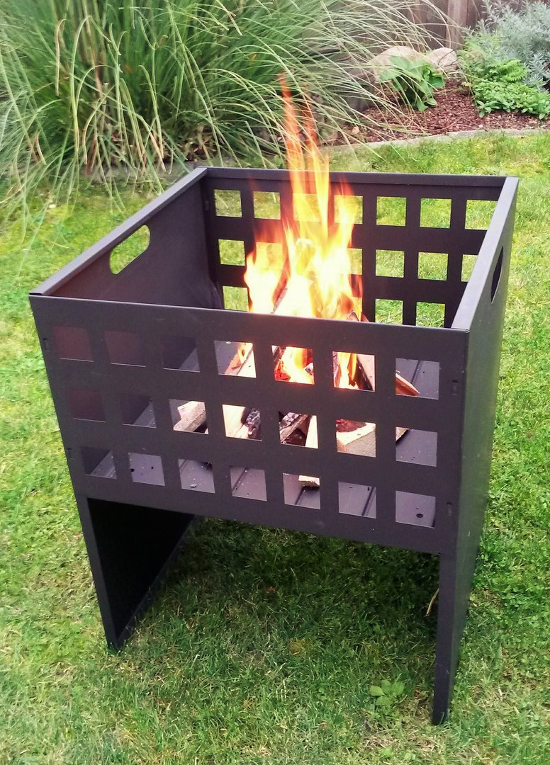 feuerschale feuerkorb feuerstelle h60xb50x50 metall garten feuer kamin b ware ebay. Black Bedroom Furniture Sets. Home Design Ideas