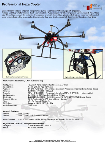 Professional Copter HEXA mit GPS - ready to Fly mit RC
