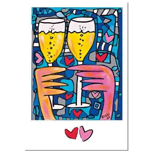 "James Rizzi Doppelkarte mit Umschlag ""A toast to love"""