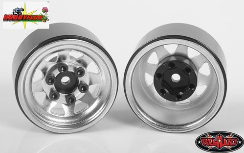 "RC4WD STAMPED STEEL 1.0"" STOCK BEADLOCK WHEELS (CHROME) (4pc) hex 7mm Z-W0263"