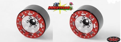 "RC4WD TRO 1.7"" STAMPED STEEL BEADLOCK WHEELS (RED/CHROME) (2PC) Z-W0225-2"