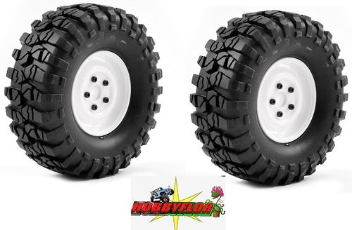 FTX OUTBACK PRE-MOUNTED 1.9 (2pc) - STEEL LOOK LUG/TYRE WHITE hex 12mm Diametro 104mm FTX8172W