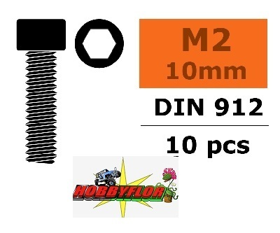 GF-0100-002 G-Force RC - Hex Socket Head Screw - M2X10 - Steel - 10 pcs