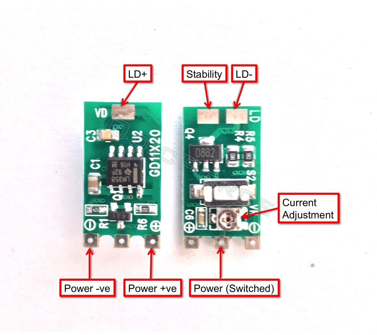 50 - 400mA LM358 Constant Current Driver, 3.5 -5.0V - Hand-held lasers and Modules V2