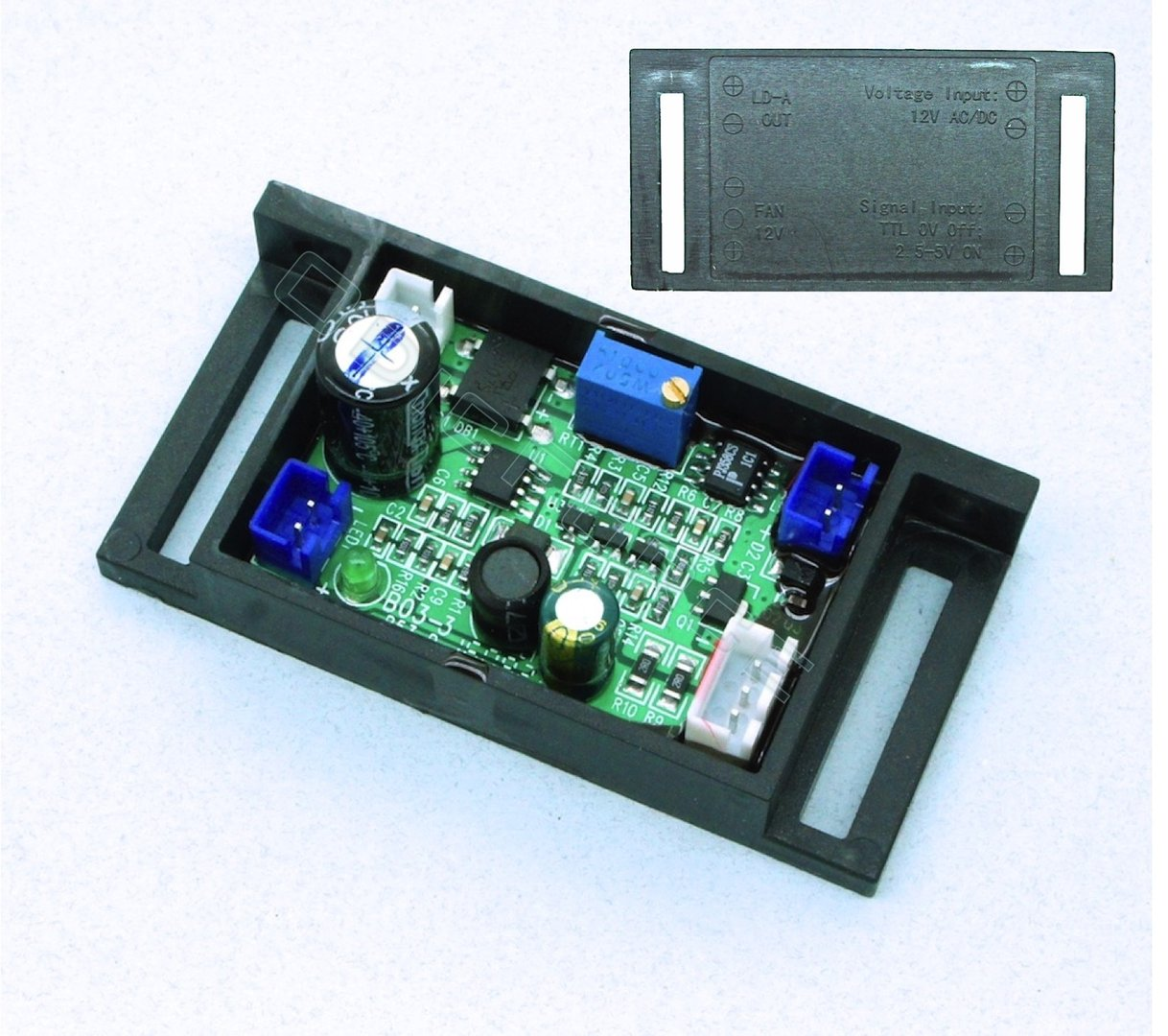 0 - 600mA 12V Driver for 405nm and 520nm Green Laser Diodes (6.6V output), 12V with Optional TTL
