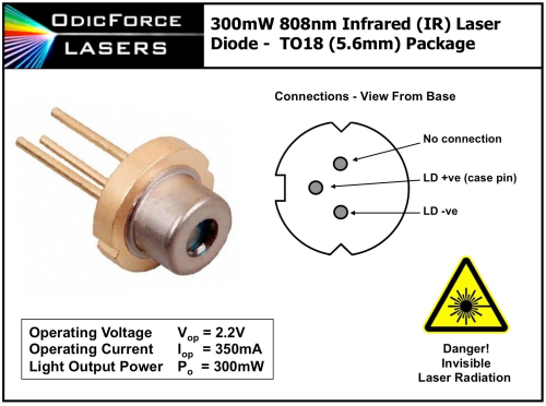 808nm 300mW Infrared (IR) Laser Diode (TO56 5.6mm)