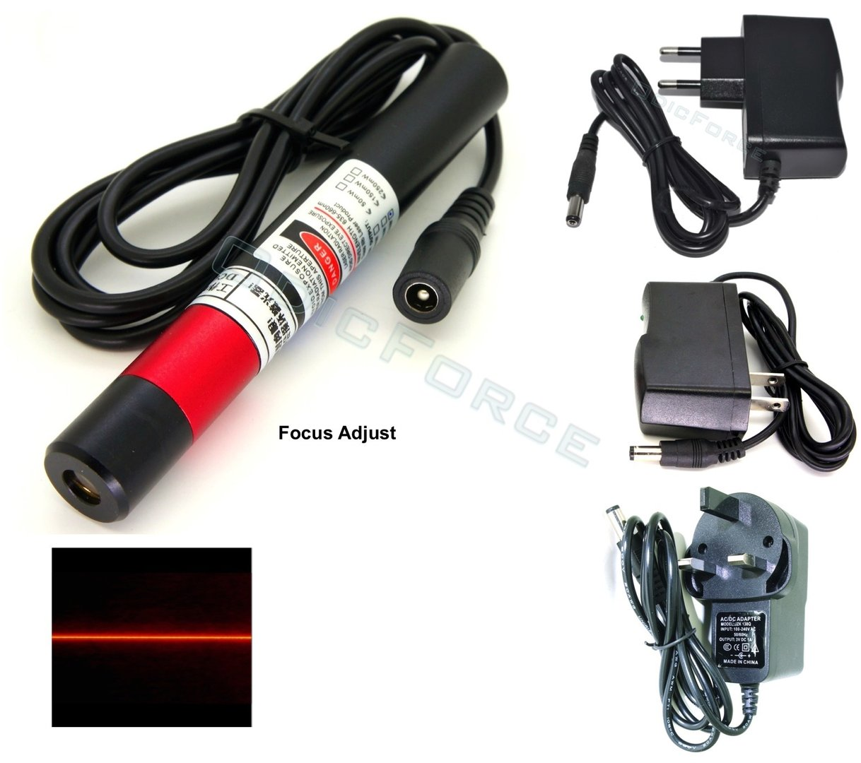 200mW Fine Focusing Red (660nm)  Line Laser Module (5V) With 2-pin 110-240V Power Supply (16mm)