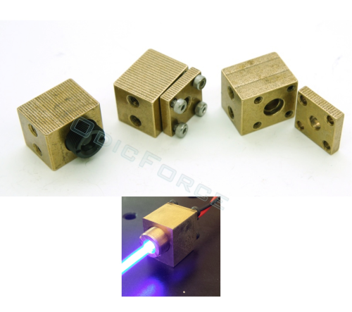 Brass Laser Diode Housing Block (5.6mm Diodes, 9mm Lens Thread)