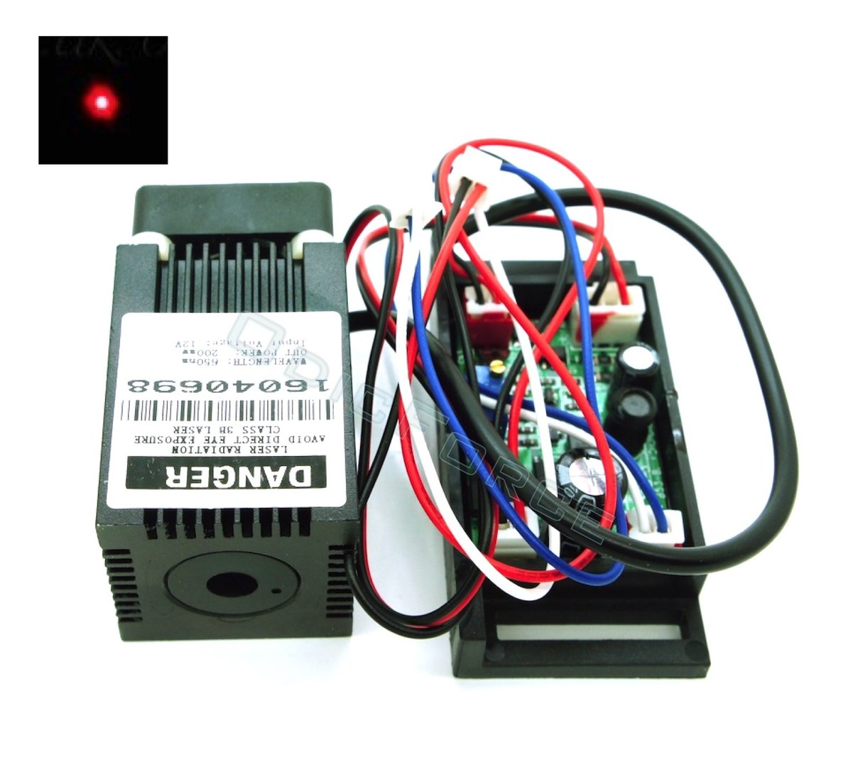 200mW Red (650nm) Laser Diode Module with 12V  TTL Driver Board and Fan Cooling