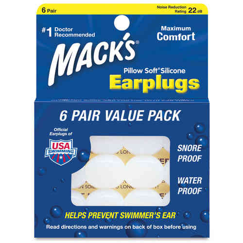 Mack's Pillow Soft Silicone Earplugs 6 Pairs