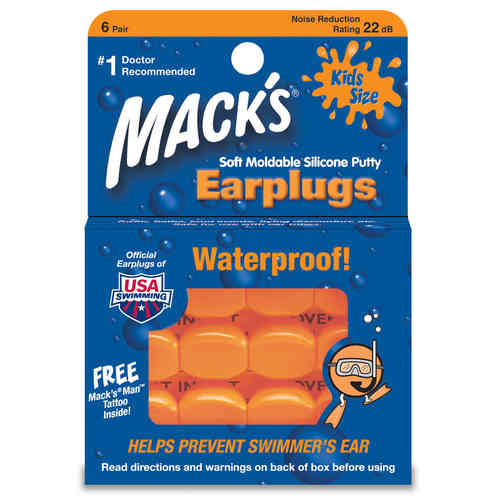 Mack's Soft Moldable Silicone Kids Size Earplugs-6 Pairs