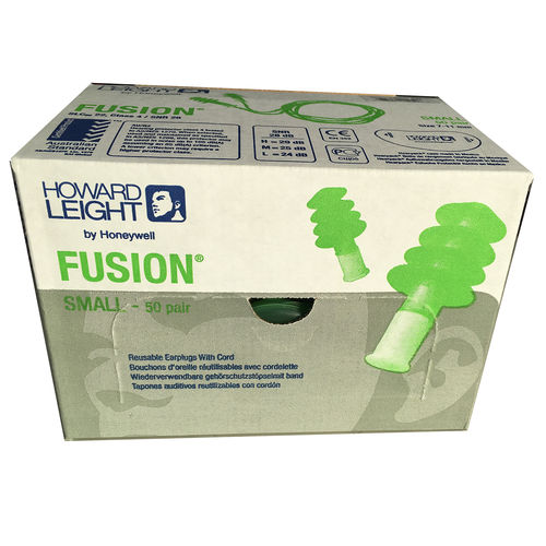 Howard Leight Fusion Small Cord Reusable Earplugs Box of 50 Pairs