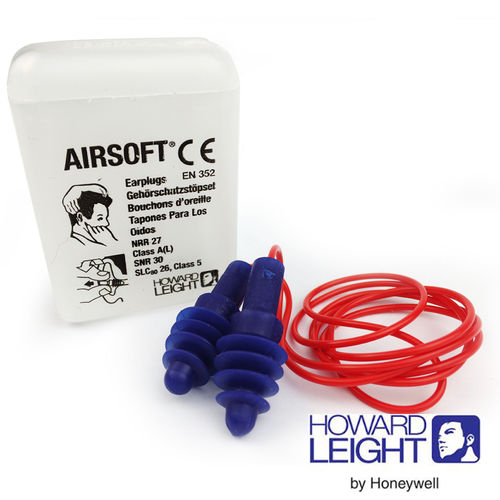 Howard Leight by Honeywell Airsoft Corded Reusable Earplugs SNR 30dB