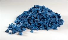 Landscaping Blue rubber chippings