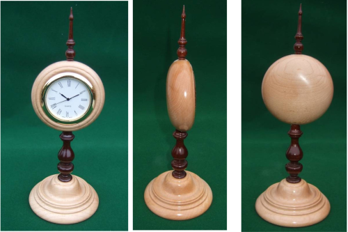 Cuban Mahogany & Maple pedestal Mantle Clock -hand crafted