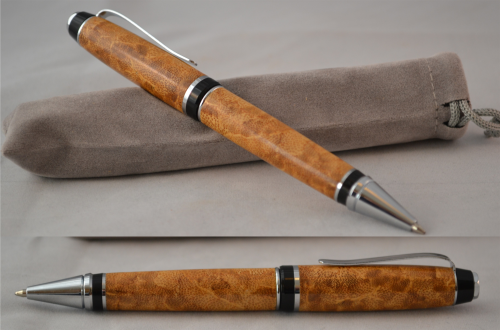 Cigar Pen Hand made in Bamboo with Chrome trim