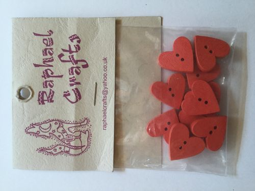 Red Heart Wooden Buttons Pack Of 10