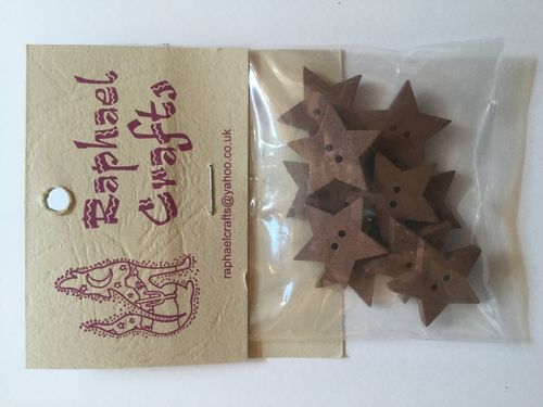 Brown Star Wooden Buttons Pack Of 10