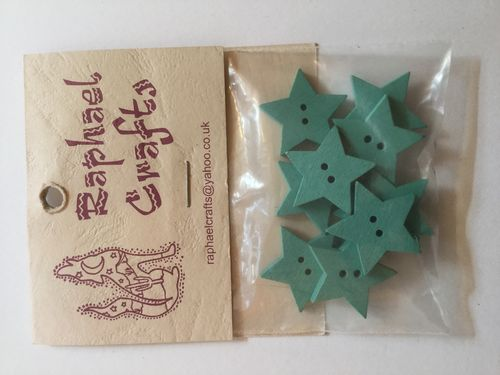 Blue Star Wooden Buttons Pack Of 10