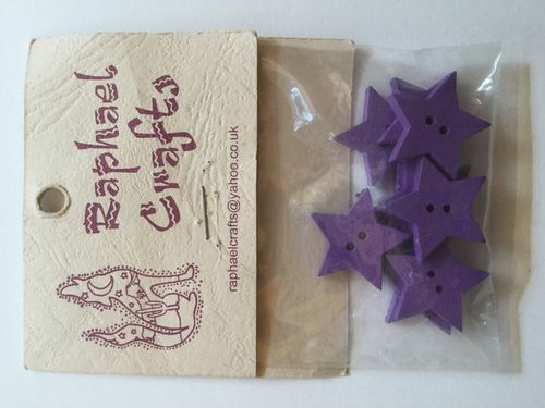 Purple Star Wooden Buttons Pack Of 10