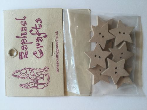 Natural Star Wooden Buttons Pack Of 10