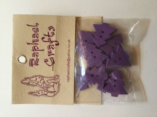 Purple Christmas Tree Wooden Buttons Pack Of 10