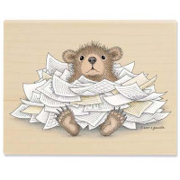 "Gruffies Rubber Stamp - "" Bear-ied in Paperwork"""