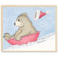 "Gruffies Rubber Stamp - "" Beary Fast Sled"""