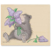 "Gruffies Rubber Stamp - "" Lavender Bouquet"""