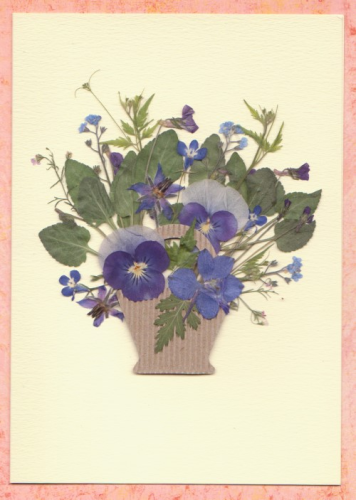 Handmade Mother's Day/Birthday Card Blue Pansy Basket