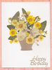 Handmade Mother's Day/Birthday  Card Yellow Pansy Basket