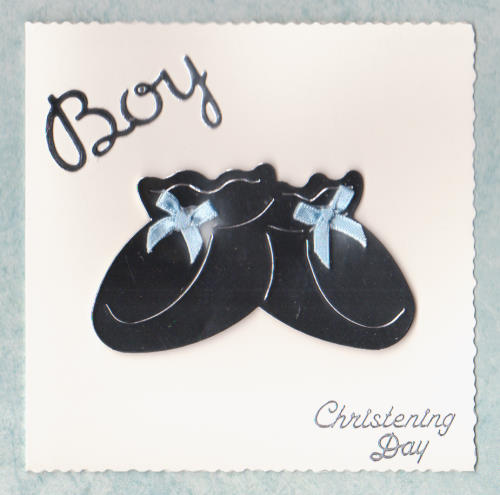 Handmade Christening Card CD4 Christening Day Booties - Boy